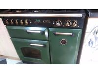 Leisure dual fuel range cooker in green