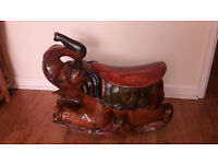 Antique Indian hand carved solid wood rocking elephant