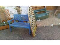 Scrap wooden bench seat and trellis