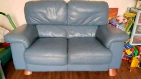 Leather sofa. Three a two and a foot stool