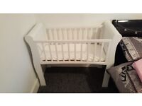 White sleigh crib