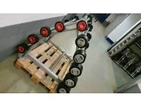 10 _ 45 HAMMER STRENGTH BARBELLS AND RACK. COMMERCIAL GYM EQUIPMENT