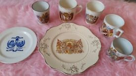 Commemorative cups and plates 7 piece collection King George, etc