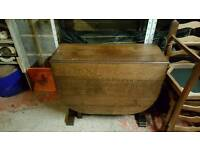 Folding solid oak table and 4 chairs