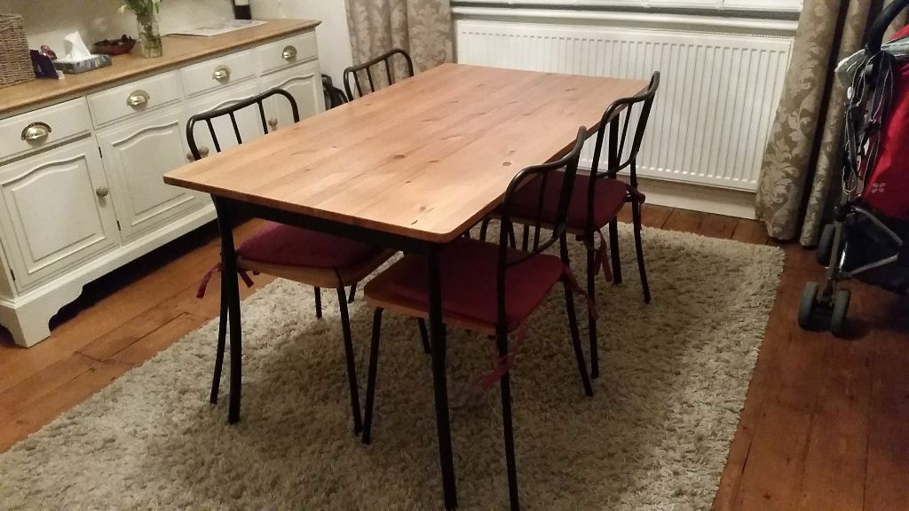 Ikea Antnas Pine Top With Black Metal Legs Table And 4