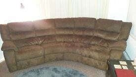 Brown suede electric recliner sofa
