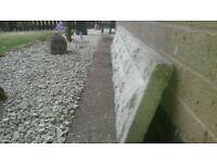 CONCRETE GRAVEL BOARD. stone face.