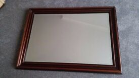 Large hard wood beveled mirror, suitable for fireplace or hall