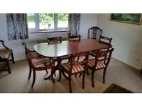 Mahogany Reproduction Dining Table and six chairs with matching Corner Cupboard