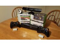 Microsoft Xbox 360 2 wireless controllers Kinect Sensor 18 games rechargeable batteries kids bundle