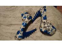 Blue white platform shoes. Iron fist irregular choice skulls alternative