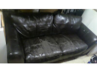 3 Seater brown leather sofa,