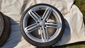 "GENUINE AUDI A3 S3 8P A4 S4 SEGMENT RS6 5 TRI SPOKE 19"" ALLOY WHEELS WITH TYRES"