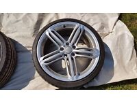 """GENUINE AUDI A3 S3 8P A4 S4 SEGMENT RS6 5 TRI SPOKE 19"""" ALLOY WHEELS WITH TYRES"""