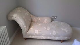 Laura Ashley Chaise Longue in excellent condition with wooden bun feet and fully sprung base.