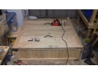 wooden hand built sand pit removable lid and includes tarpaulin to cover
