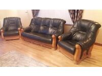 Genuine leather 3 piece sofa suite. No.1 three seater and No.2 single seat.