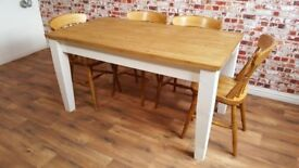 Antique Pine Farmhouse Tapered Leg Pine Extendable Dining Set - in Huge Range of Adaptable Sizes