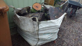 One tonne type builders bag of wood, logs for fire or wood burner.