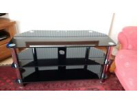 Black two level glass tv stand