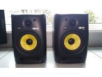 KRK Rokit 6 Gen 2 monitors, KRK 10S Sub, BOSS FS-5L Footpedal, Pioneer 707 DJ mixer, XLR cables