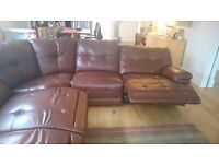 Large leather corner recliner sofa. 4 years old. Brown leather.