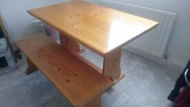 Dining table and two benches