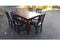 Dark Wood Extending Table & 6 Ikea Stefan Chairs FREE DELIVERY (03135)