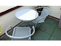SMALL PATIO/CONSERVATORY TABLE AND TWO CHAIRS
