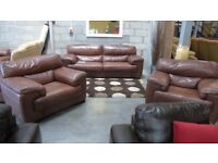 PRE OWNED Violino Rosa 3 Seater Sofa + Armchair + Armchair in Brown Leather