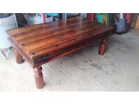 Vintage Solid Oak Coffee Table - very heavy (needs some tlc)