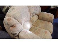 Cream Floral Two-seater Sofa and Armchair in Great Condition