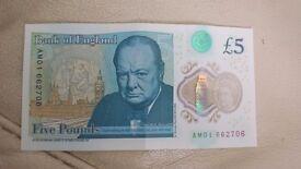 Rare £5 polymer note AM01 rare