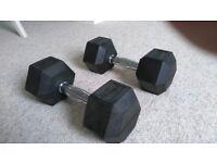 2 x Bodyrip 10kg hex dumbbells