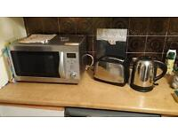 Russell Hobbs toaster and kettle, swan microwave