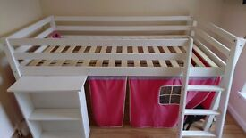 White cabin bed with pull out desk and tent very good condition