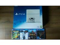 500GB Glacier white PS4. Boxed like new + 4 games