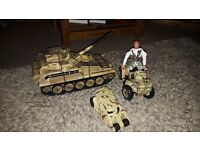 H M Forces tank, quad, sand buggy and action figure. Priced to go £25 O.N.O.