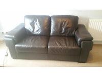 John Lewis Brown leather Sofa