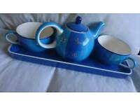 Teapot with 2 Cups on a Plate