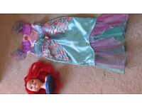Disney Ariel Dressing Up Dress Size 5-6 and Ariel styling head
