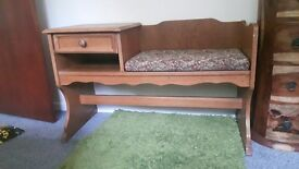 Vintage retro 70's telephone table with cusion