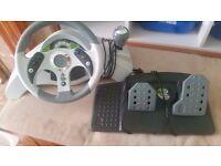 xbox 360 driving wheel and petal vgc