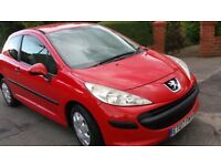 PEUGEOT 207 ,07/ 1.4 .RED, 3 DR,MOT MAY 2018,LADY OWNED,AIRCON, SERVICED,HPI CLEAR.£1195