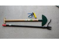 Bundle of garden tools, grandpa's weeder new, lawn edger new, hand cultivator used very little.
