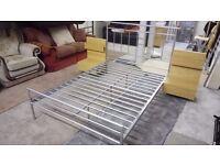 Metal DOUBLE bed frame, 2 solid wood bedside cabinets £85 FREE DELIVERY 5 miles STALYBRIDGE SK15 2PT