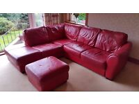 Red Leather Corner Suite and Matching Two Seat Sofa (DFS)