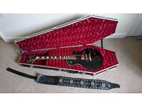 GREAT HEAVY METAL GUITAR PACK - Black Les Paul style electric guitar, Coffin Case and leather strap