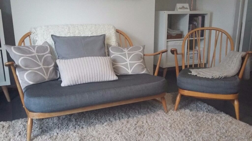 Vintage Ercol Windsor 2 Seater Sofa Amp Easy Chair