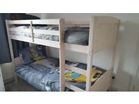 Whitewash, solid wood bunk beds with 1 mattress